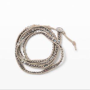 Club Monaco leather beaded wrap bracelet